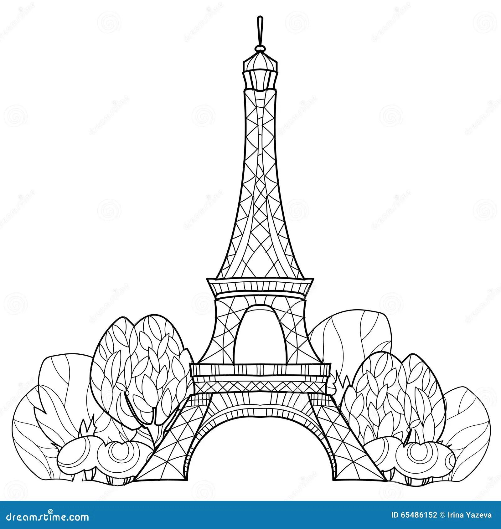 Gekritzel Eiffelturm Hand Gezeichnete Vektorskizze Vektor