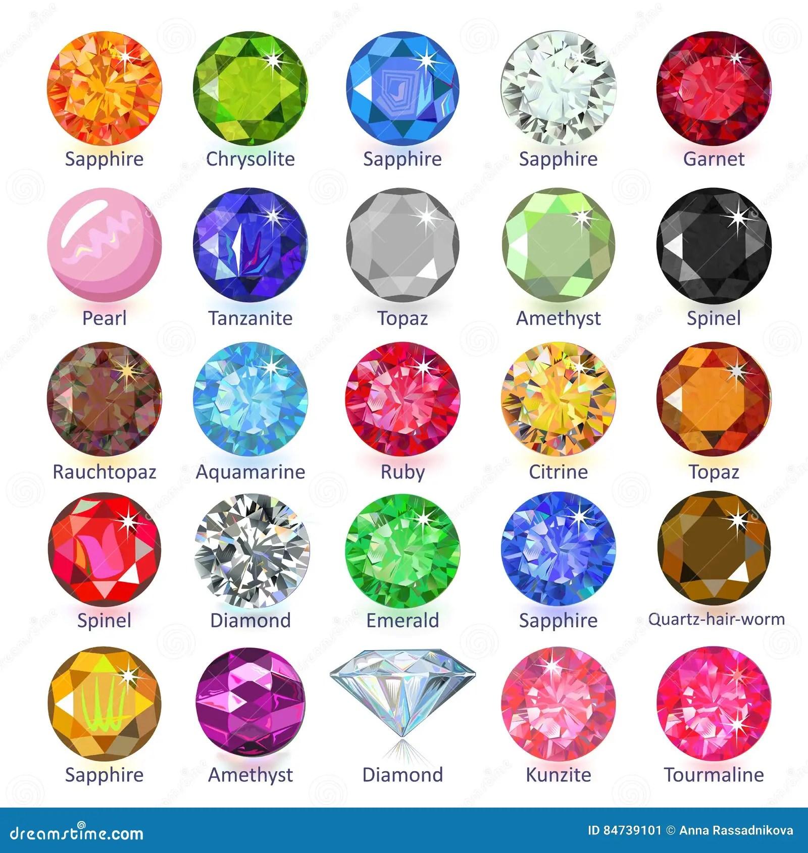 Gems Naming Chart Stock Vector Illustration Of Flat