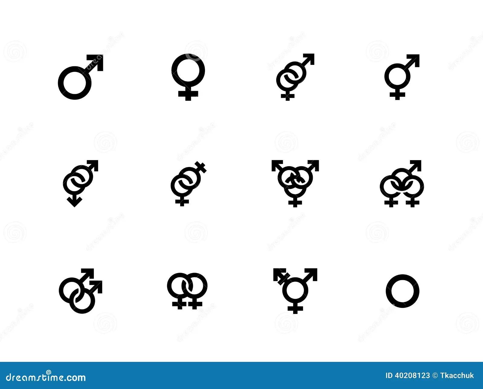 Genusidentitetssymboler P Vit Bakgrund Vektor