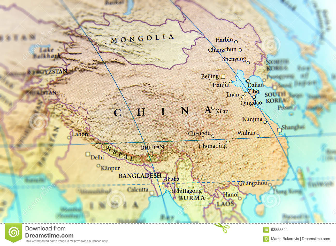Geographic Map Of China Country With Important Cities