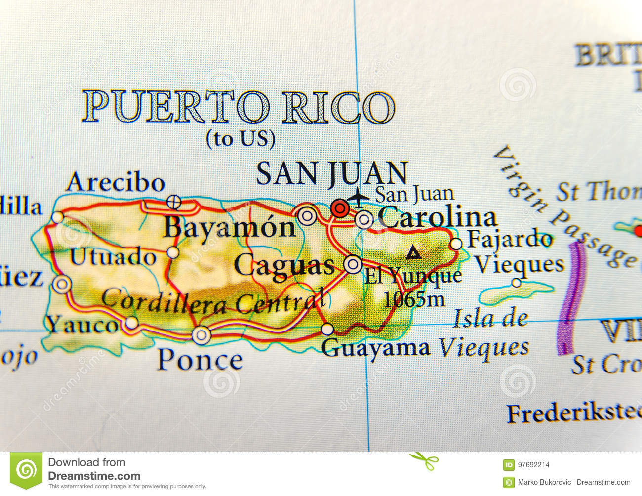 Geographic Map Of Puerto Rico With Capital San Juan Stock