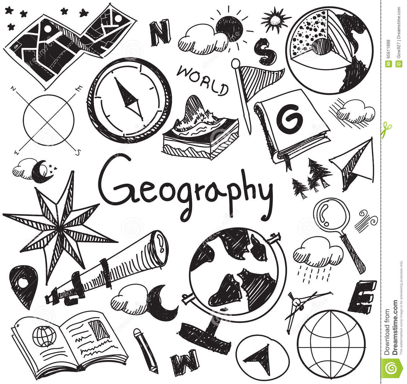 Geography And Geology Education Subject Handwriting Doodle