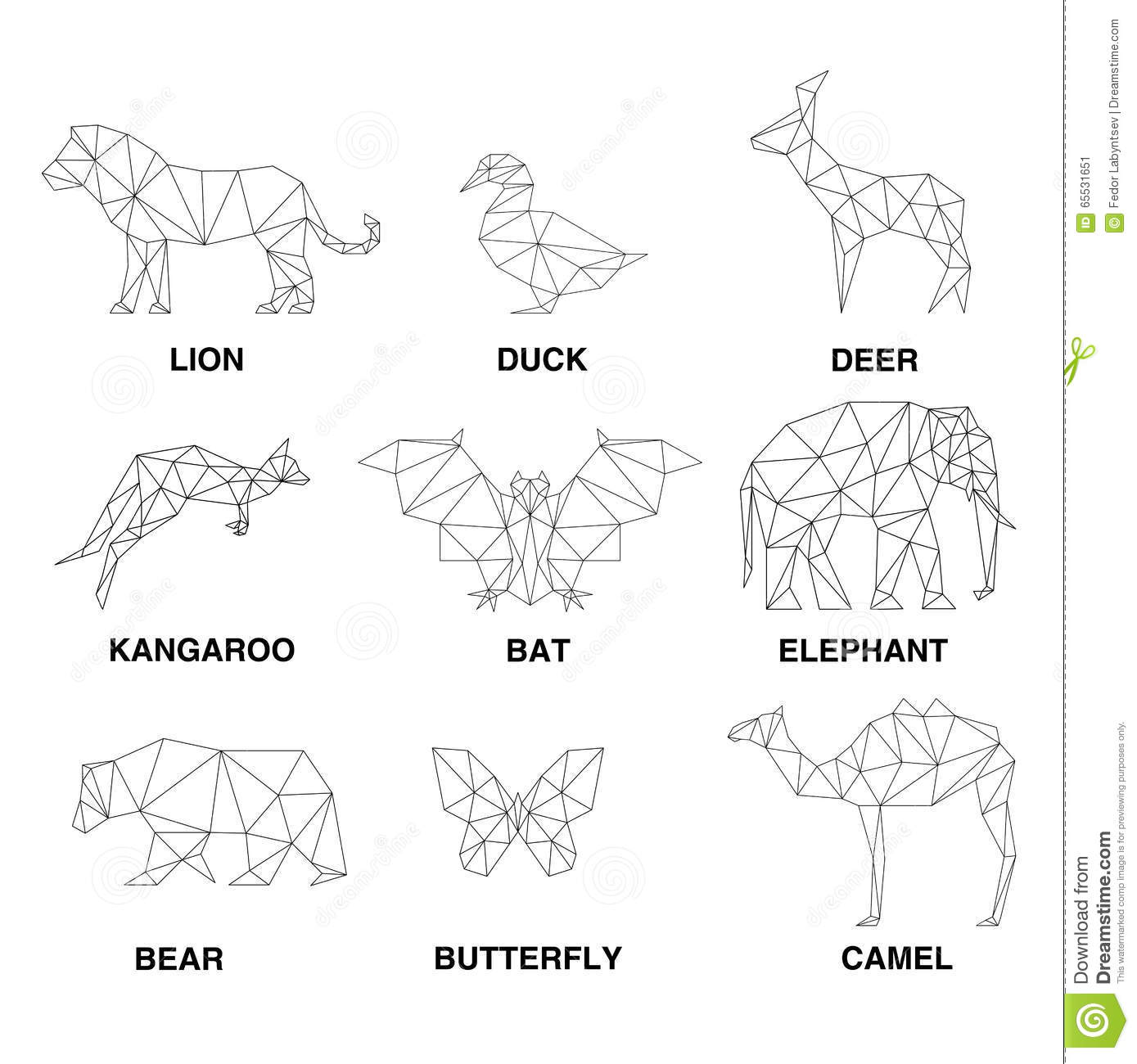 Geometric Animals Silhouettes Set Of Polygons Stock