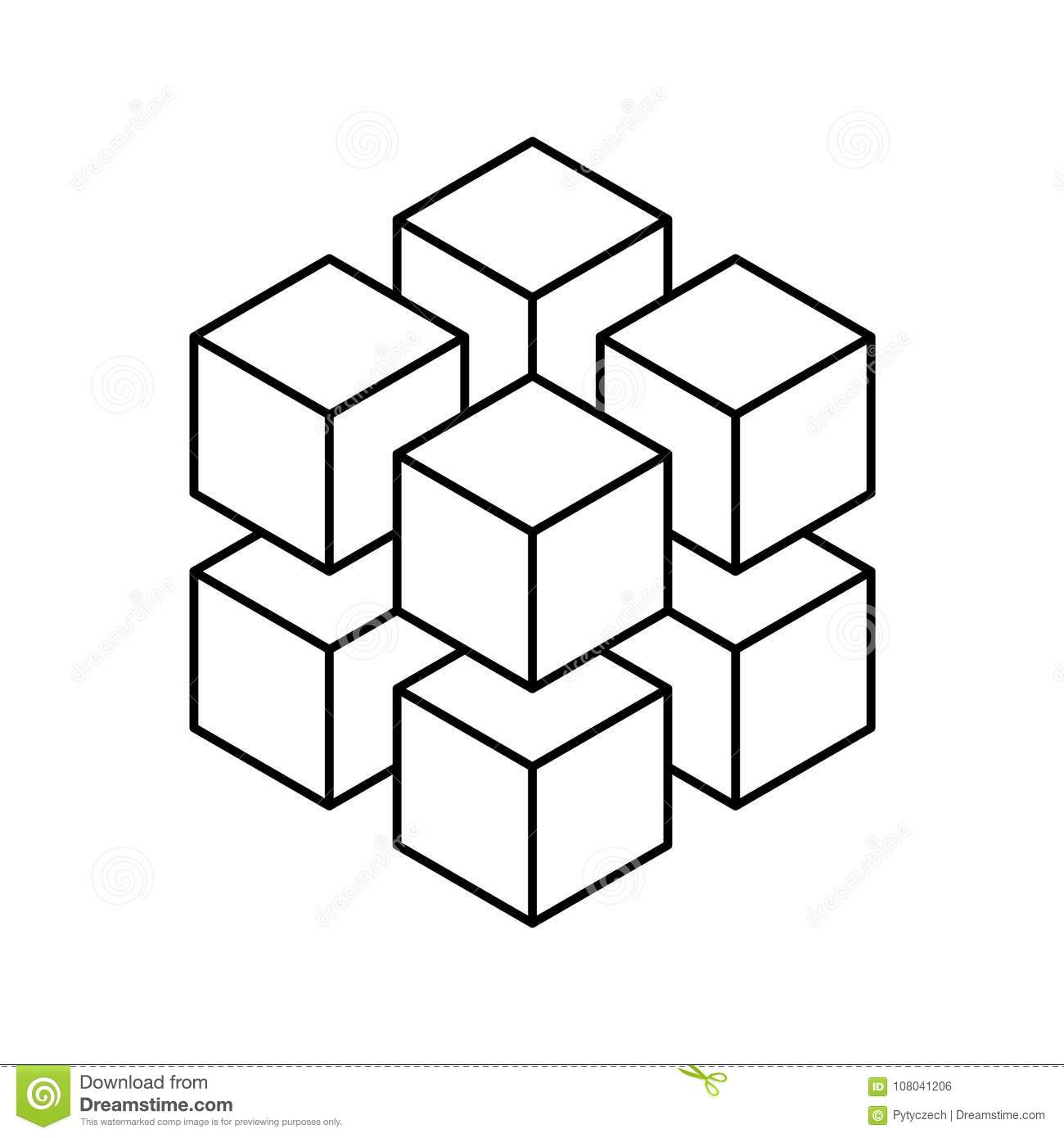 Geometric Cube Of 8 Smaller Isometric Cubes Abstract