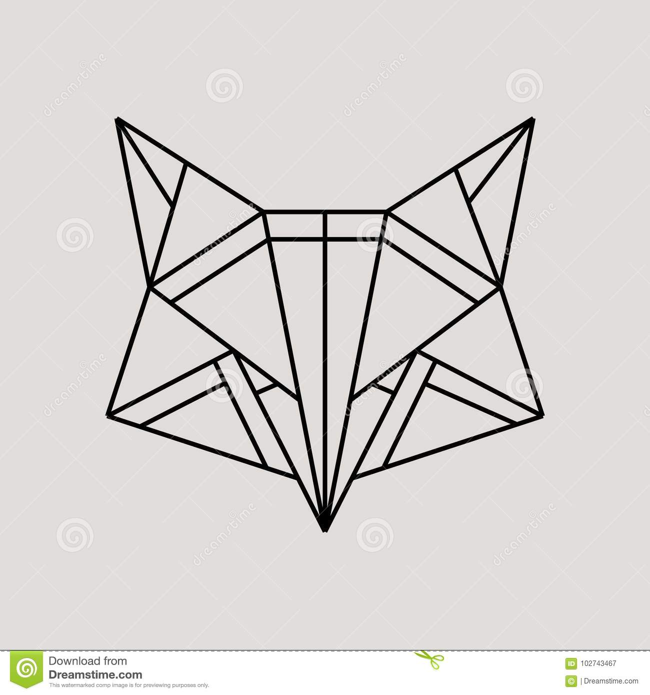 Geometric Fox Head Isolated On Grey Background Vintage
