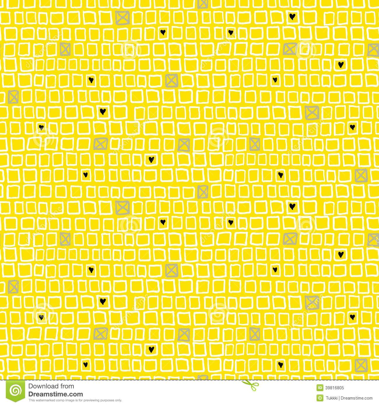 Geometric Pattern With Small Hand Drawn Squares Stock