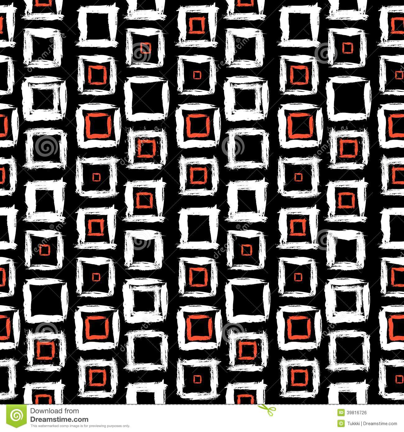 Geometric Pattern With Small Hand Painted Squares Stock