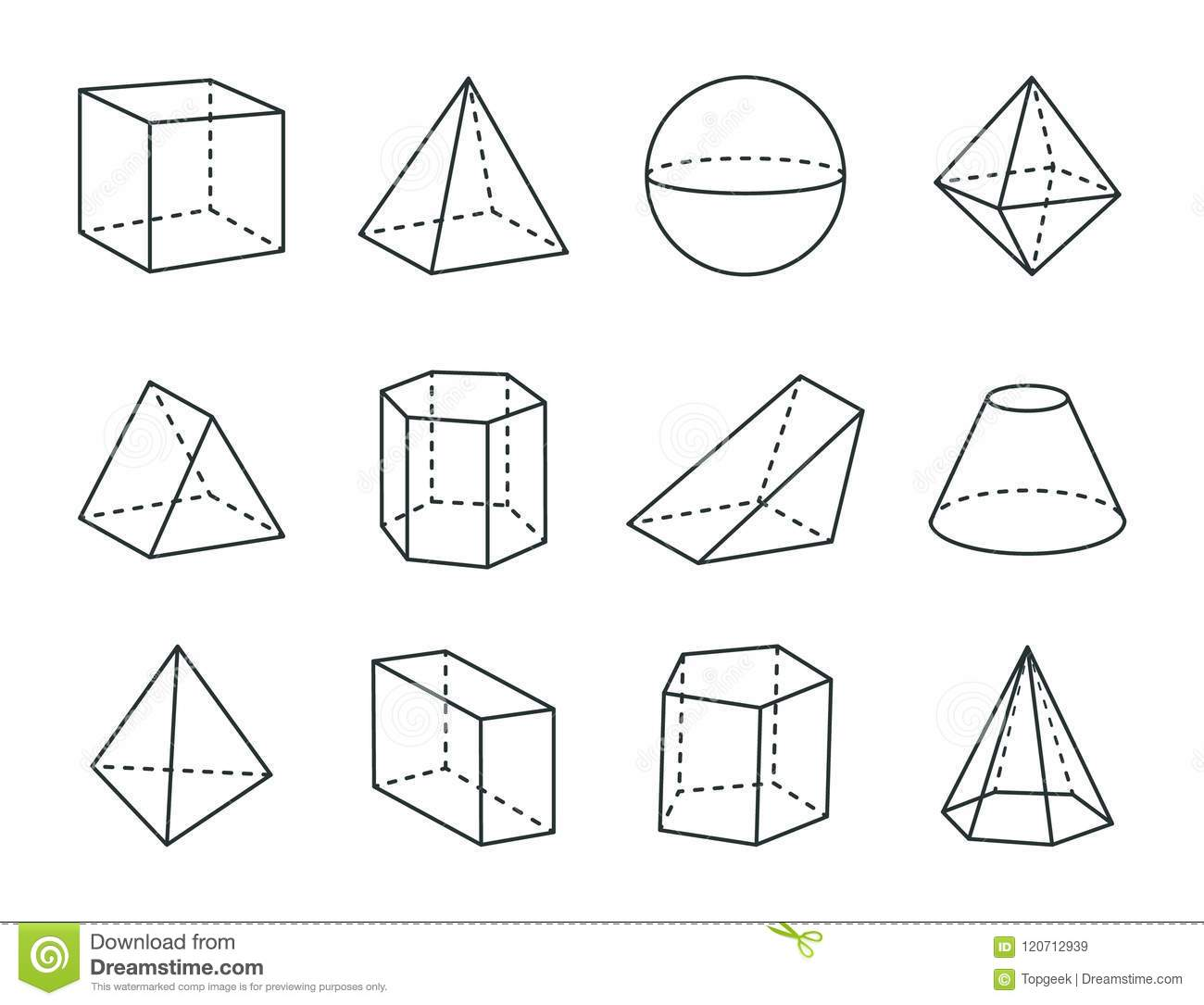 Geometric Prism Set Varied Forms Figures Drawing Stock