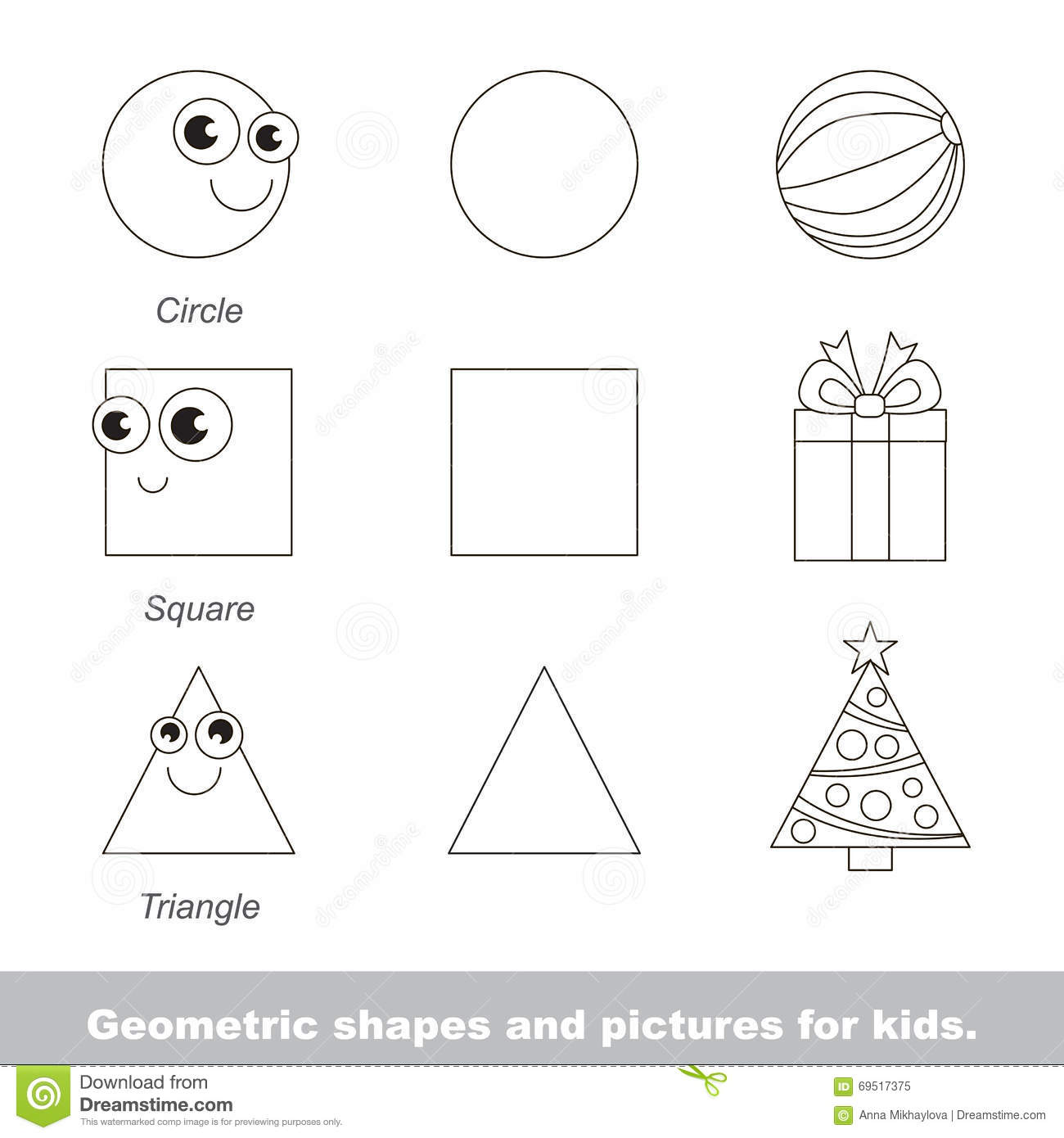 Geometric Shapes For Kids Stock Vector Illustration Of