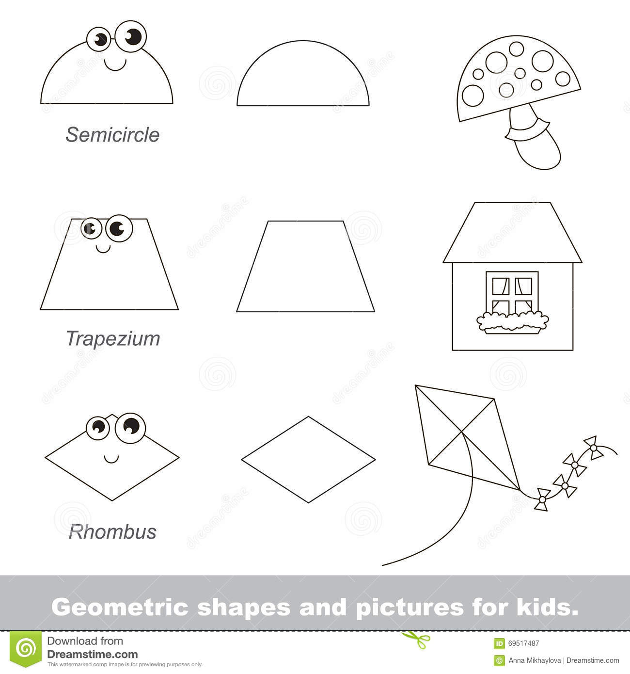 Geometric Shapes For Kids Stock Vector