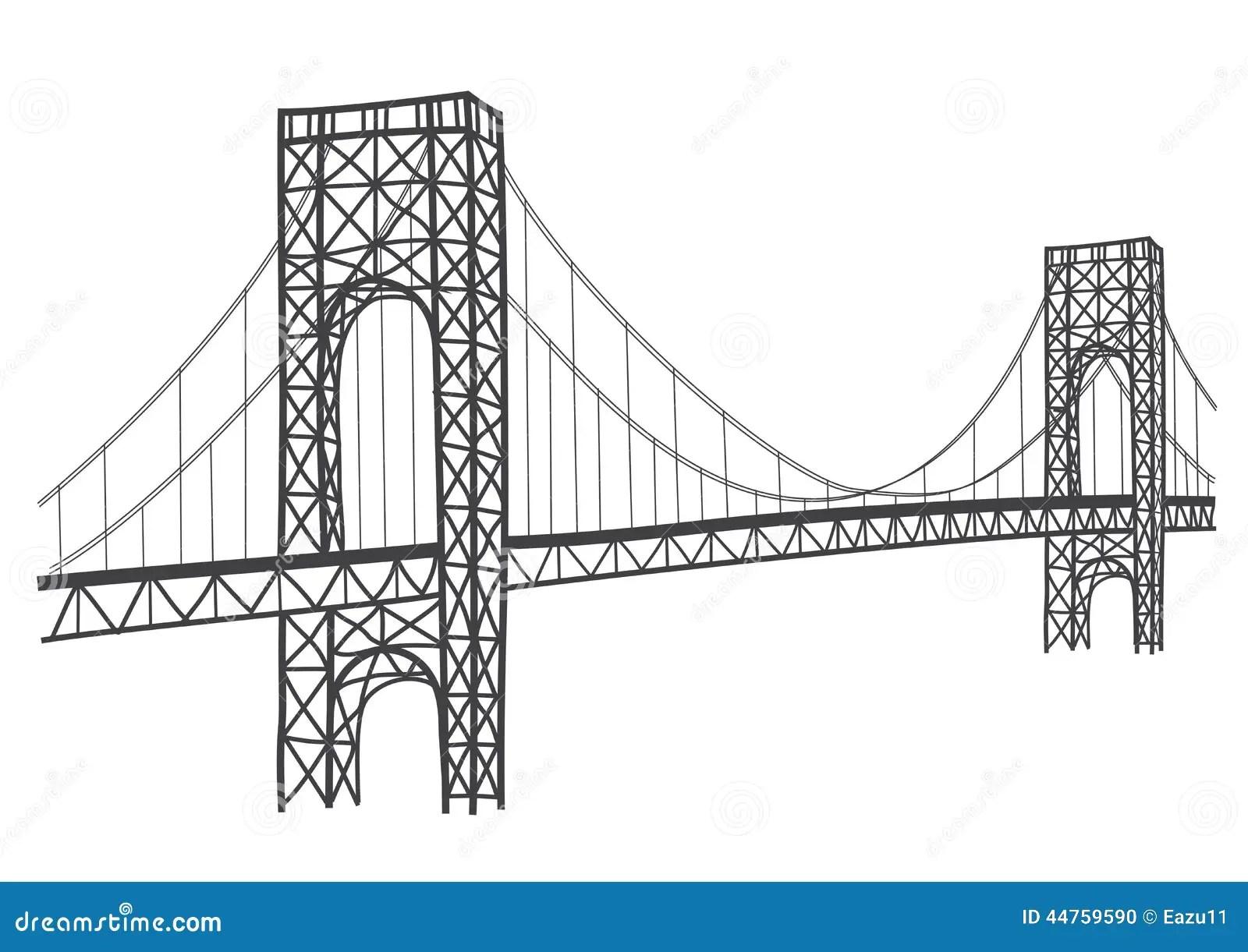 George Washington Bridge Drawing Stock Illustration