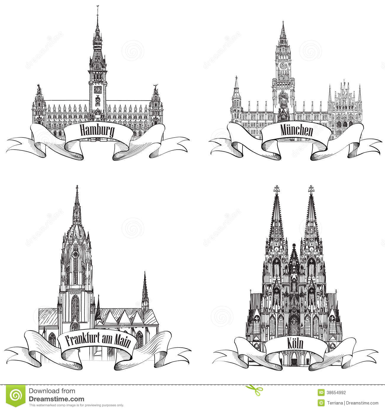 German City Icon Collection Stock Photography