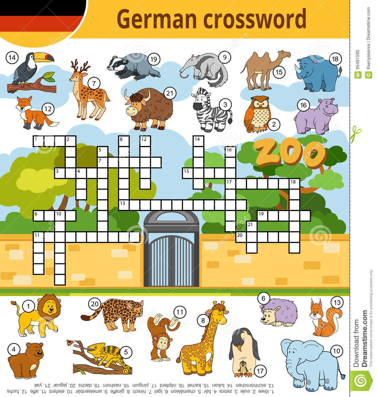 German Crossword Education Game For Children About Zoo