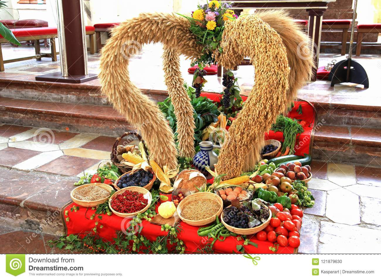 German Thanksgiving Harvest Decoration In A Catholic