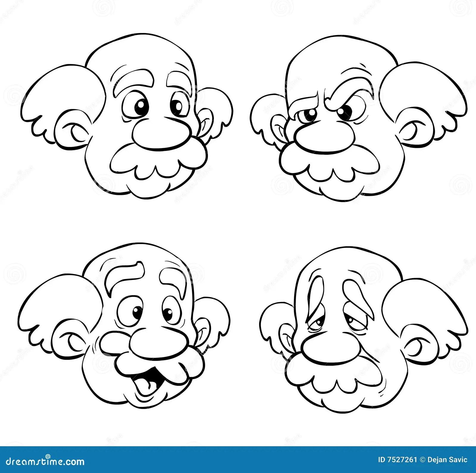 Gesichter Des Alten Mannes Stock Abbildung Illustration
