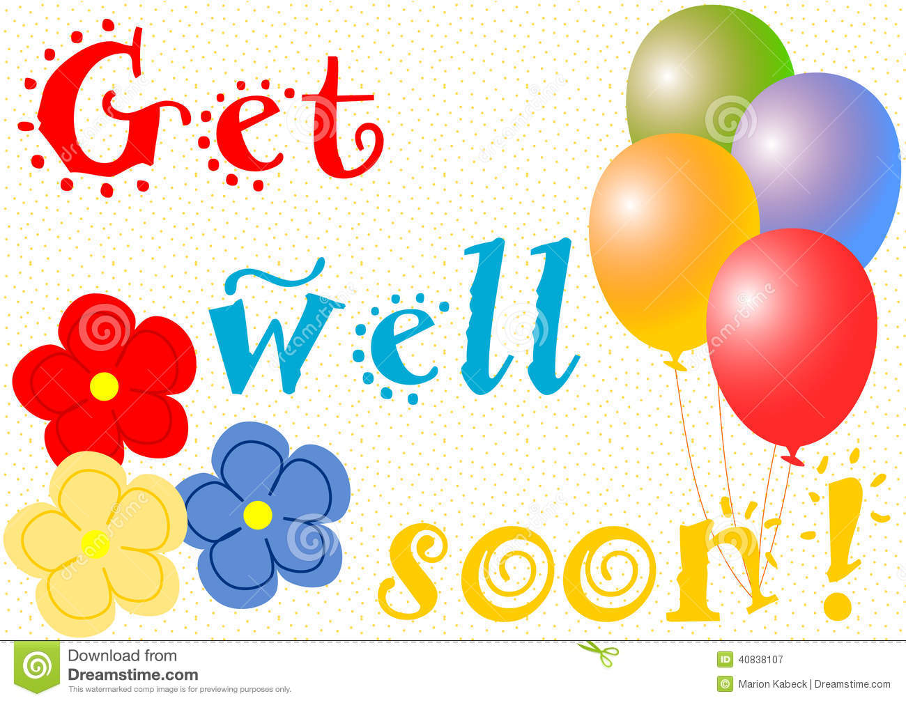 Get Well Soon With Balloons And Flowers Stock Illustration