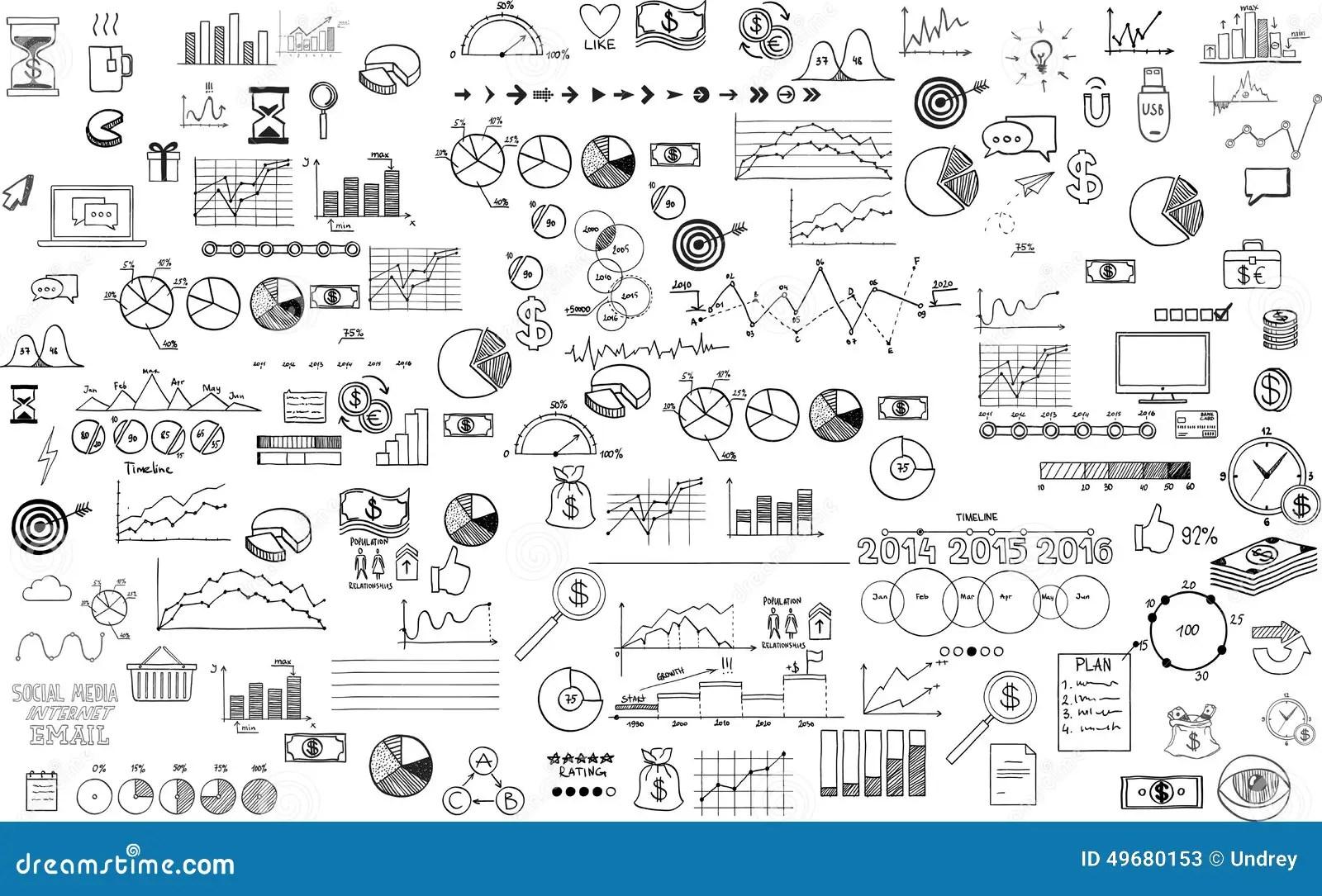 Getrokken De Krabbelschets Van De Infographicsinzameling