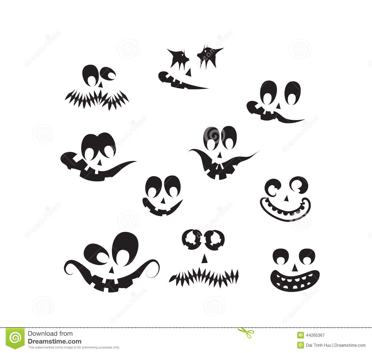 Ghost Faces Pumpkin Faces Stock Vector Illustration Of