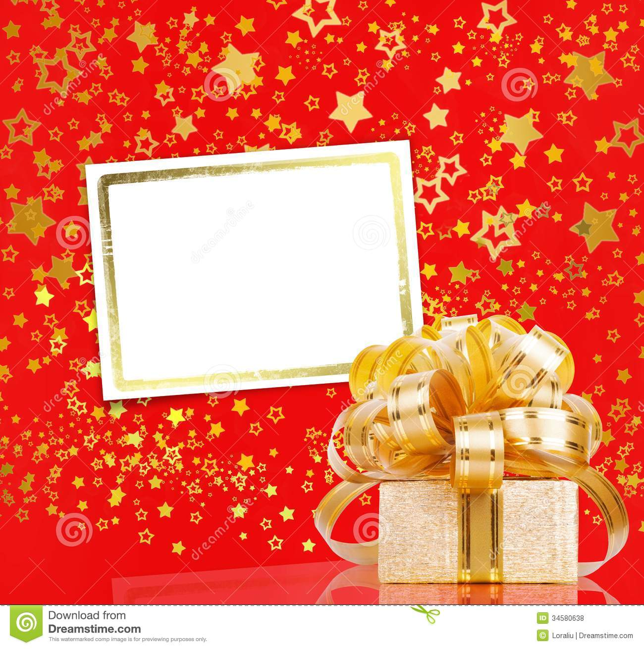 Gift Box In Gold Wrapping Paper Stock Photo Image Of