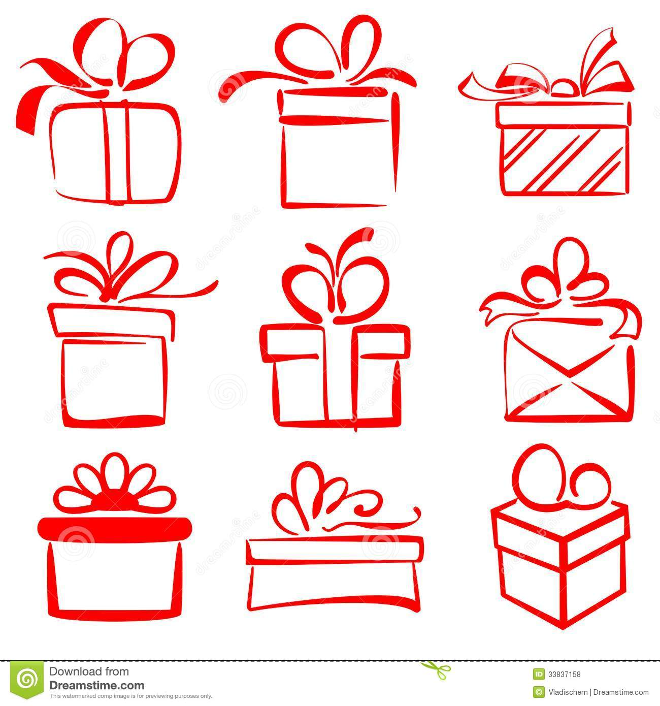 Gift Boxes Icon Set Sketch Vector Illustration Royalty