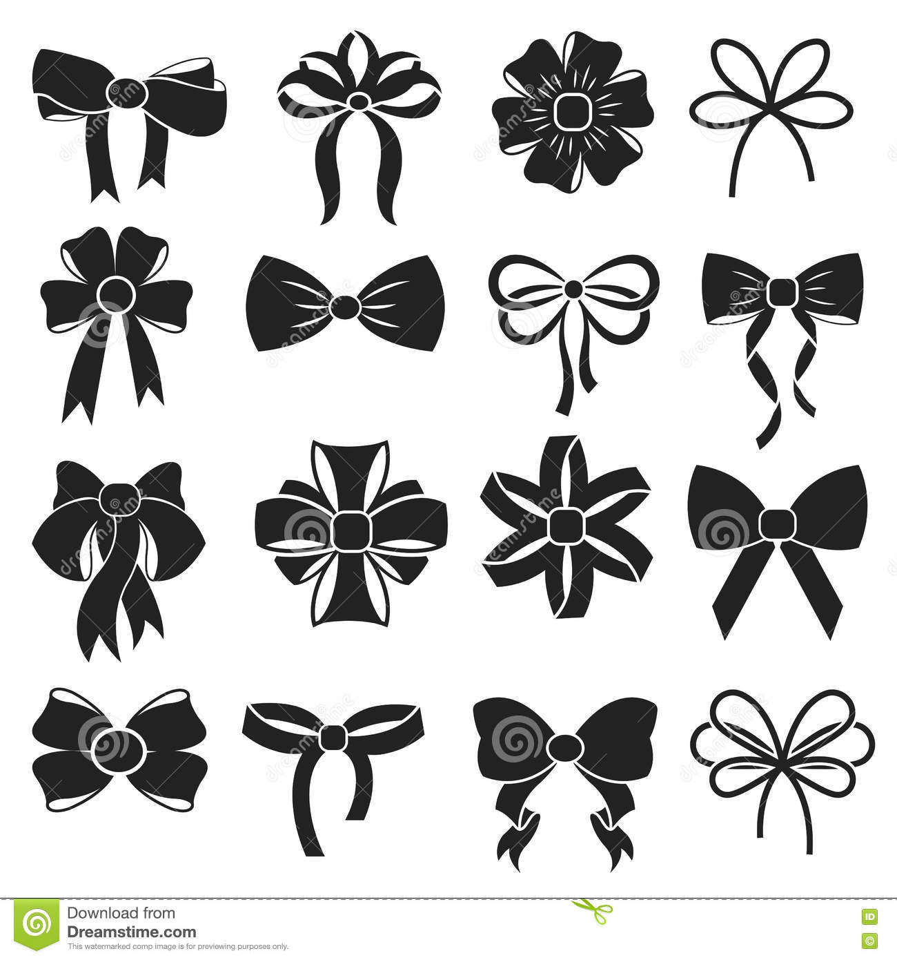 T Decorative Ribbon Bow Vector Icons Set Stock Vector
