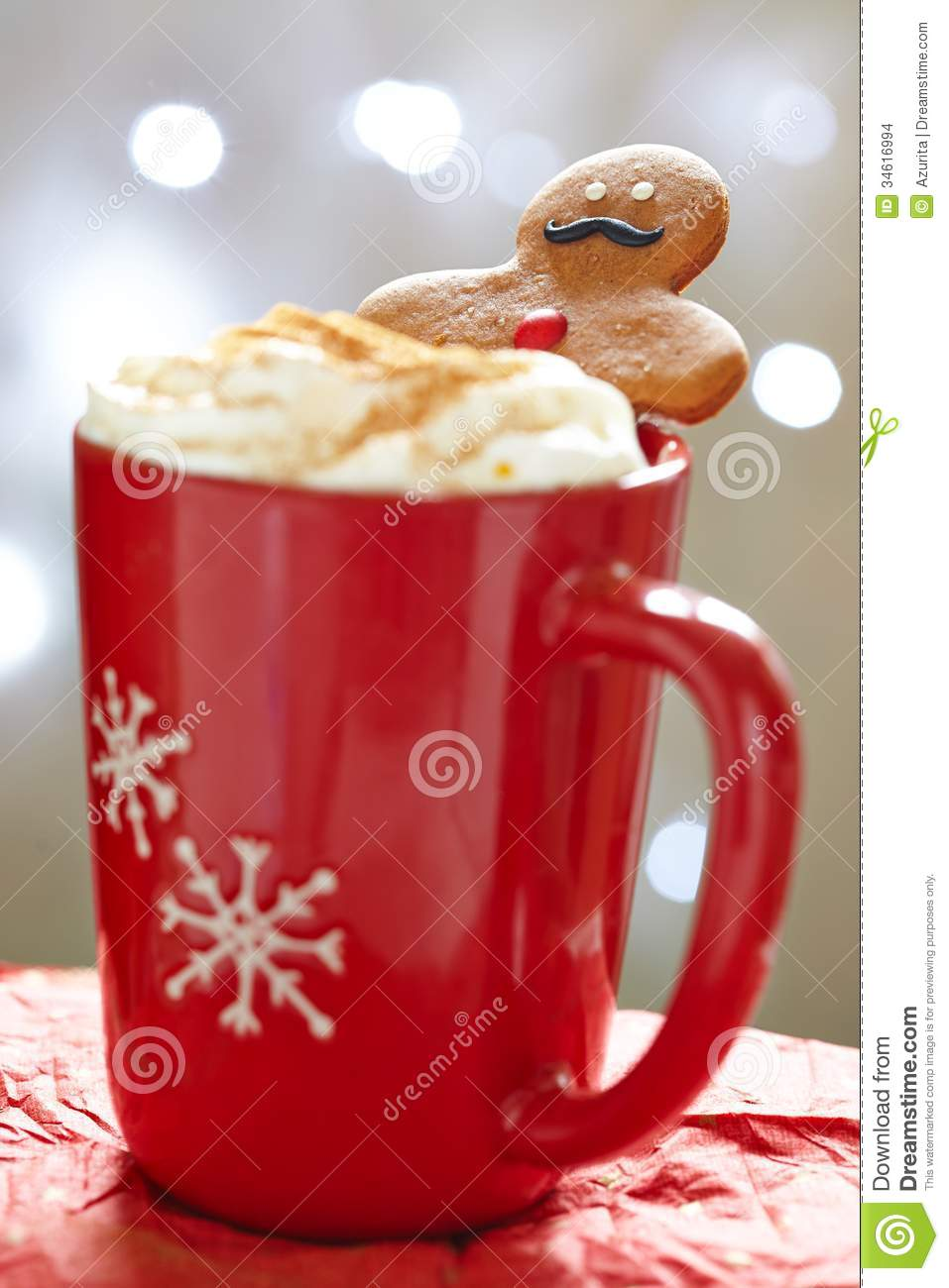 Gingerbread Man In Hot Chocolate Stock Images Image