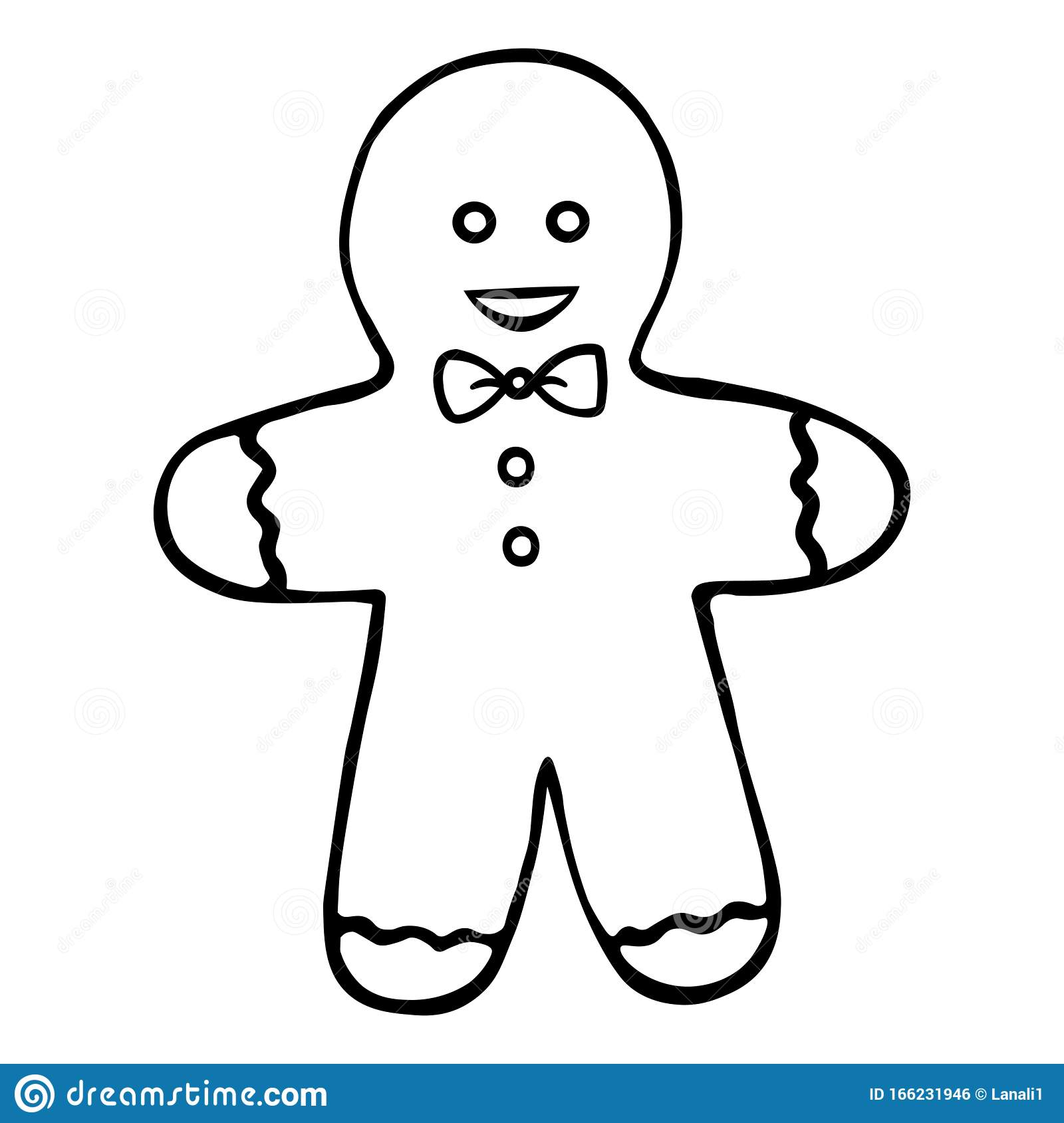 Gingerbread Man Shortbread Boy Colorless Background