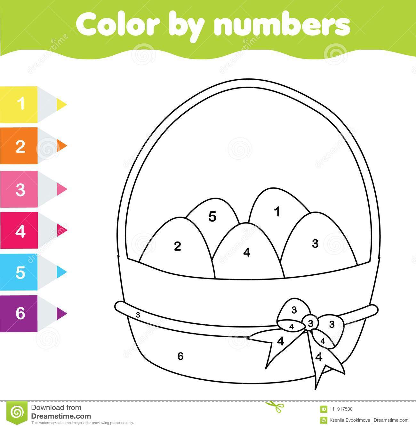 Gioco Del Disegno Di Pasqua Colore Dai Numeri Foglio Di