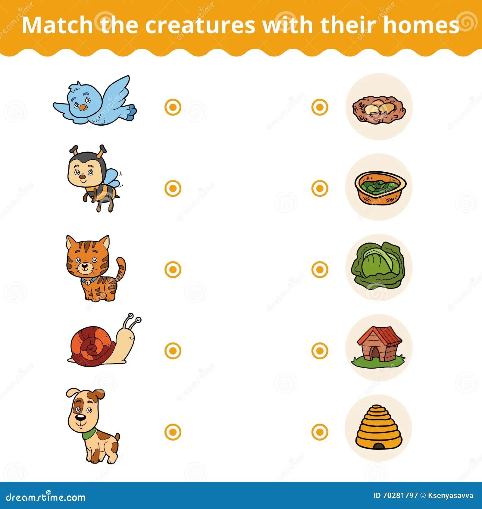 Gioco Di Corrispondenza Per I Bambini Gli Animali E Le