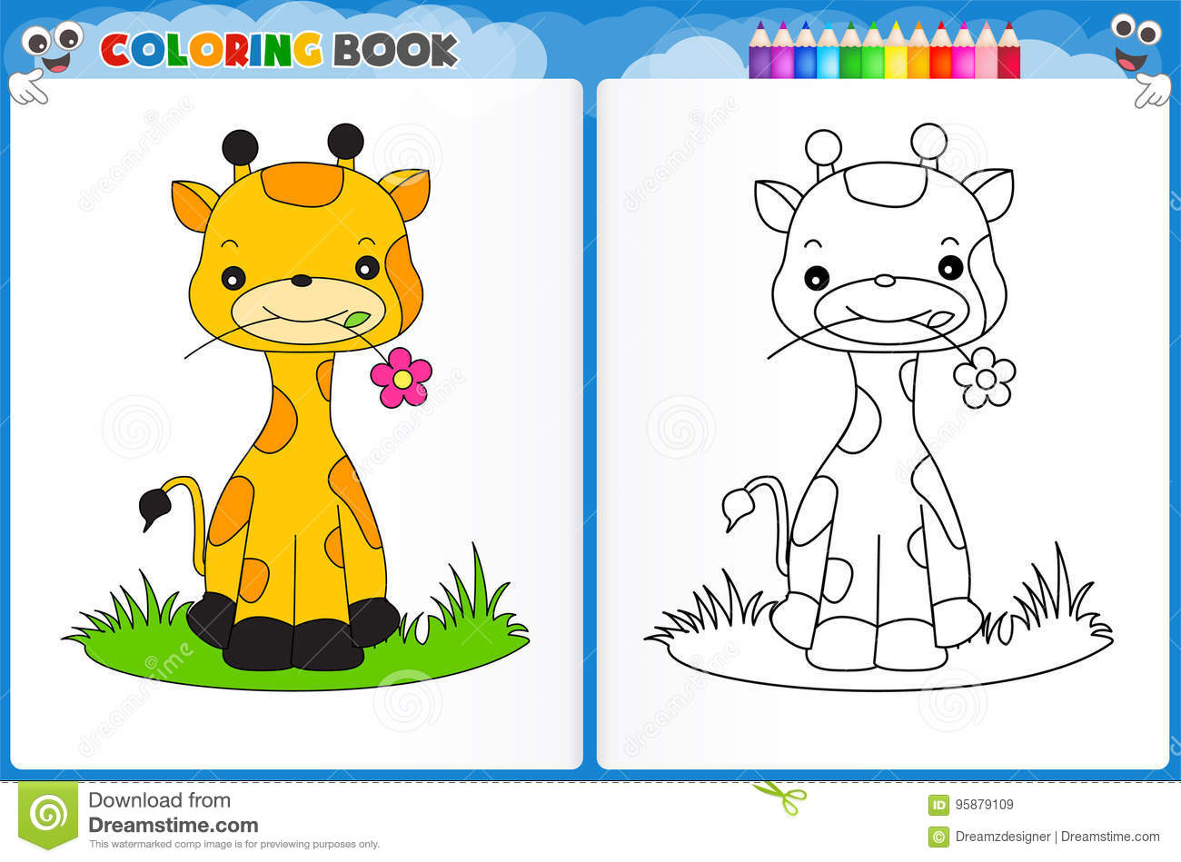 Giraffe Coloring Page Stock Illustration Illustration Of Homework