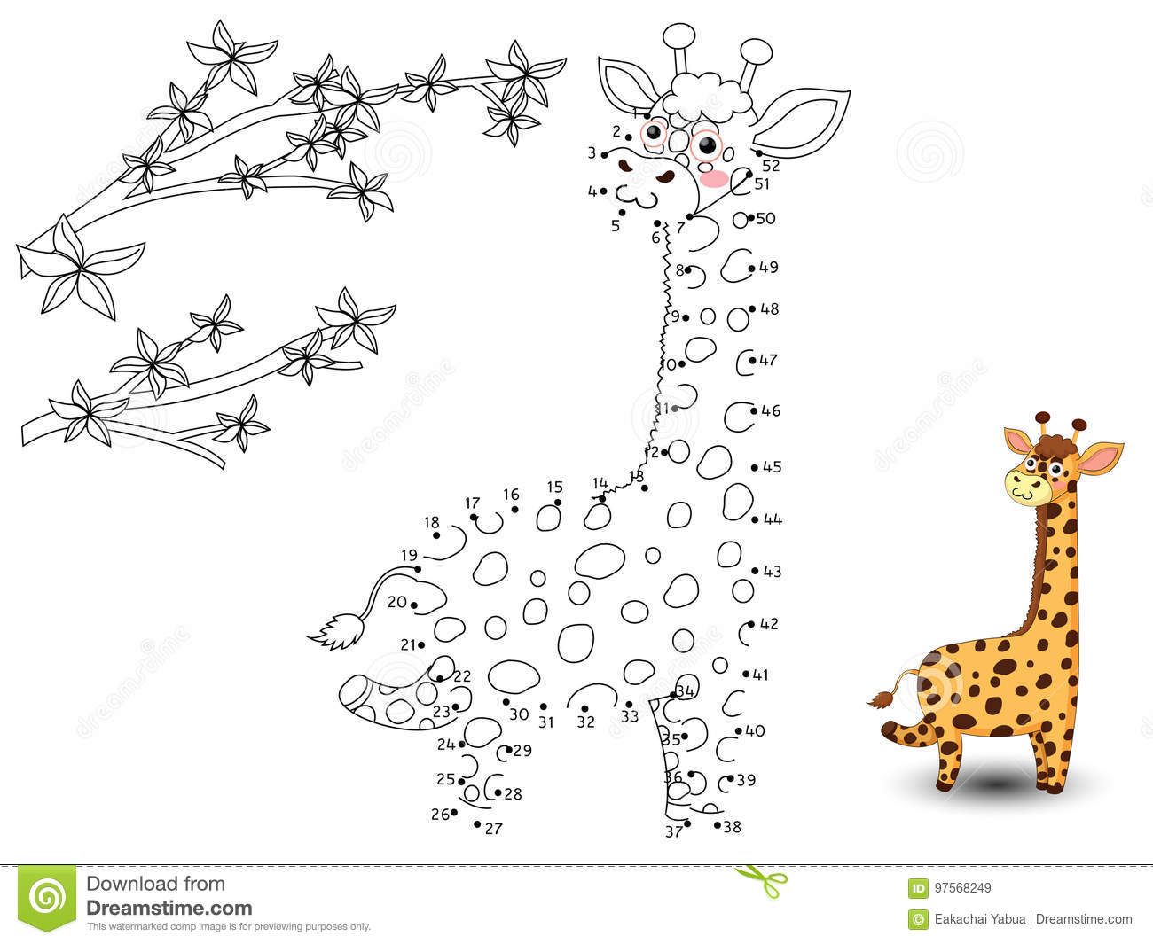 Giraffe Connect The Dots And Color Stock Vector
