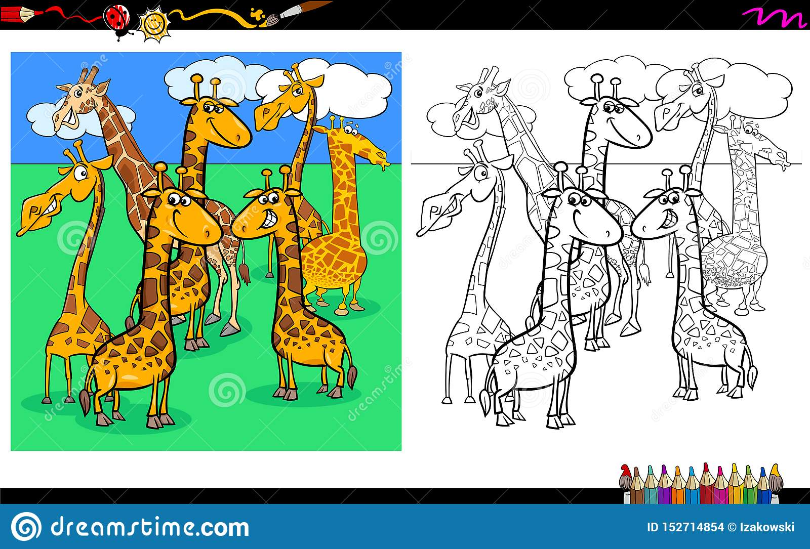 Giraffes Animal Characters Coloring Book Stock Vector