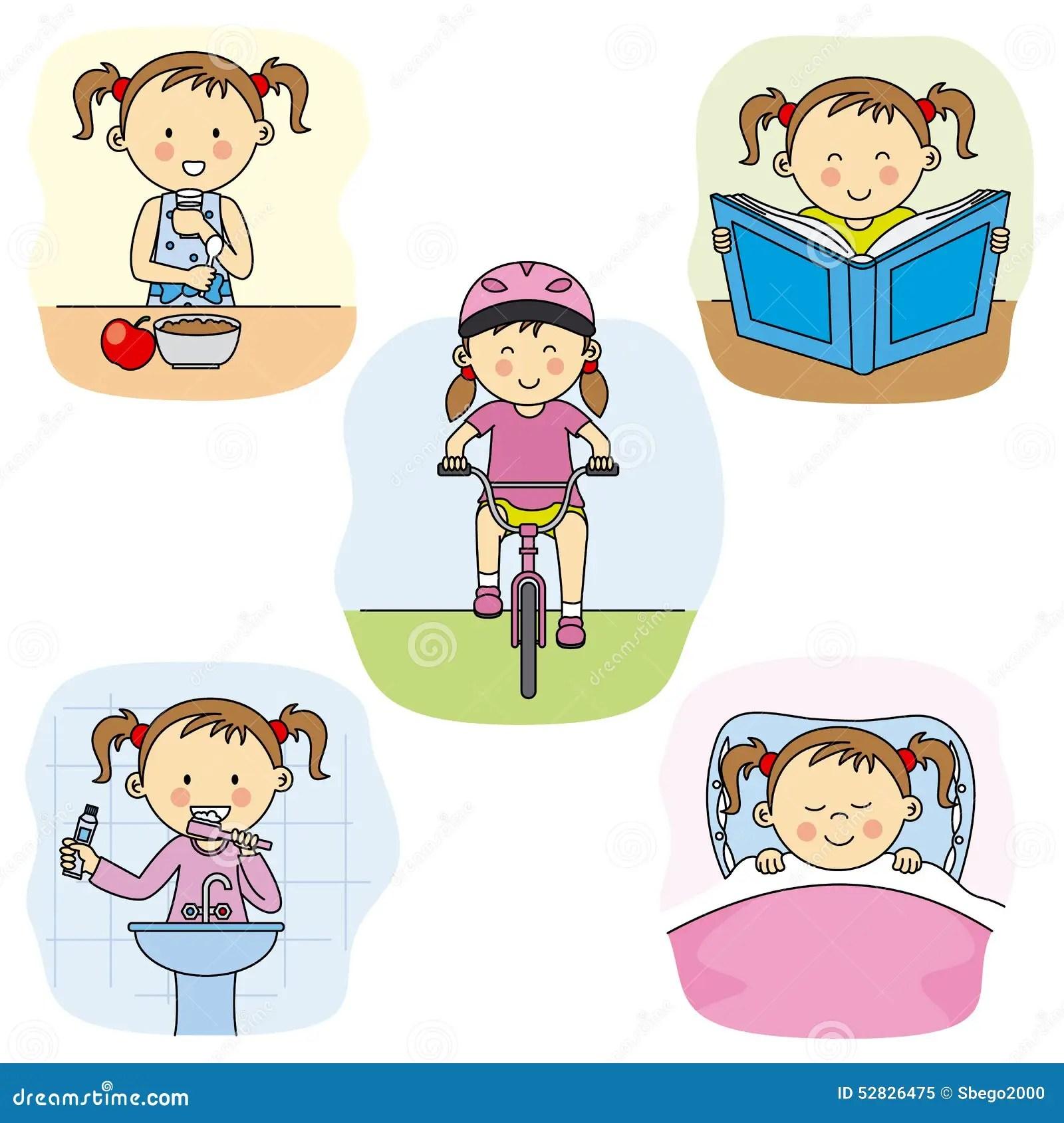Girl Activities Stock Vector Illustration Of Glass Read