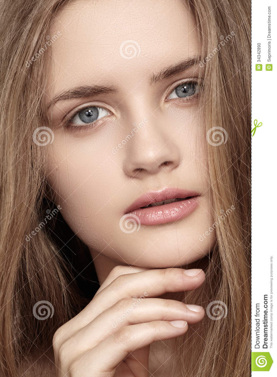 Girl With Beautiful Shiny Clean Face Health Skin Stock