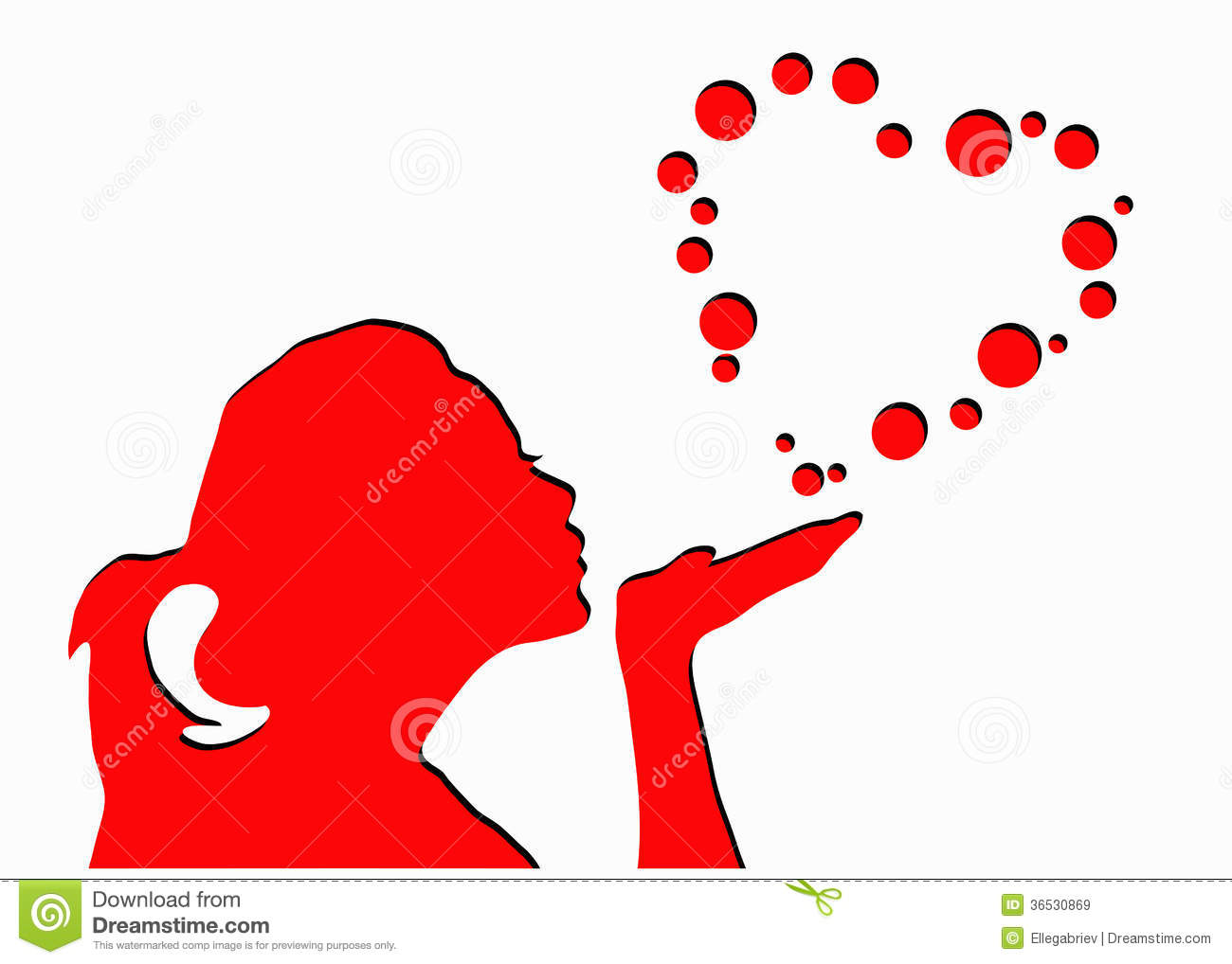 Girl Blowing Heart Shape Bubbles Stock Vector Illustration Of Love Lovely 36530869