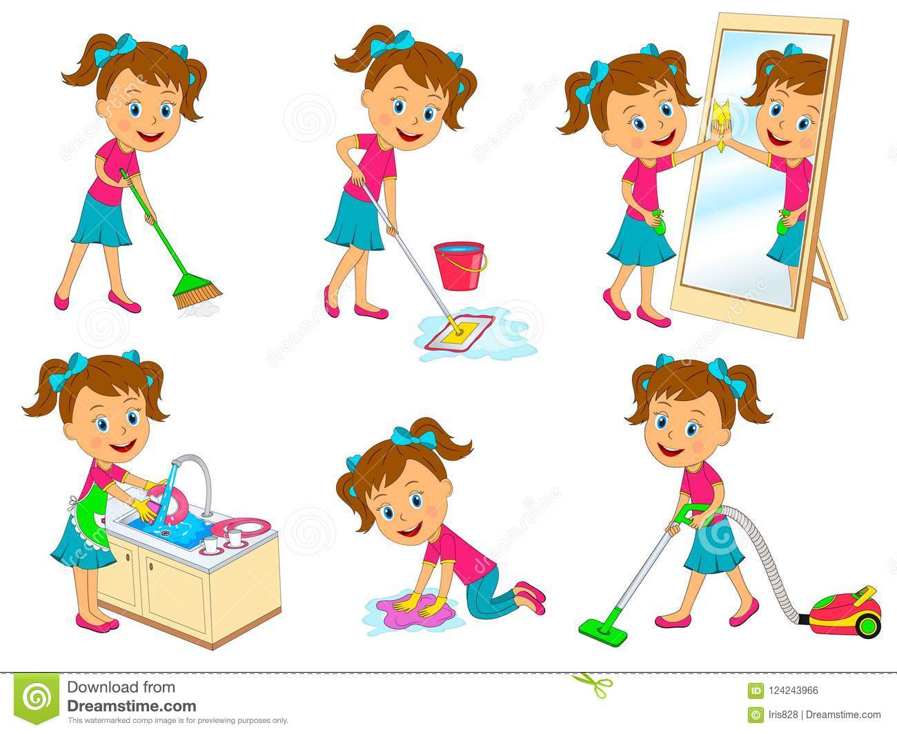 Girl Doing Chores Stock Vector Illustration Of Cute