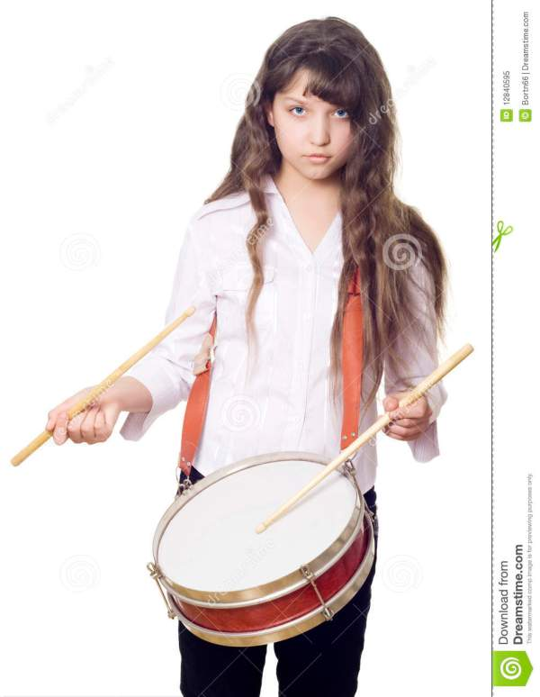 Girl And Drum Royalty Free Stock Photo - Image: 12840595
