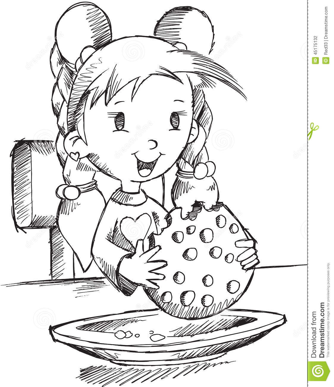 Girl Eating Cookie Sketch Stock Vector