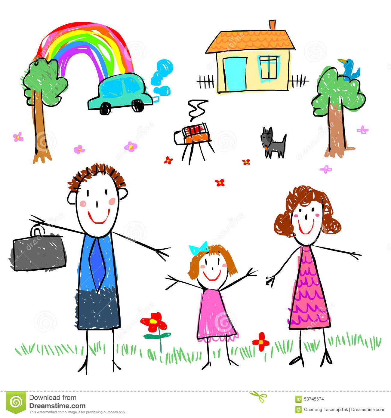 Girl With Family Drawing Picture Illustration Stock Vector