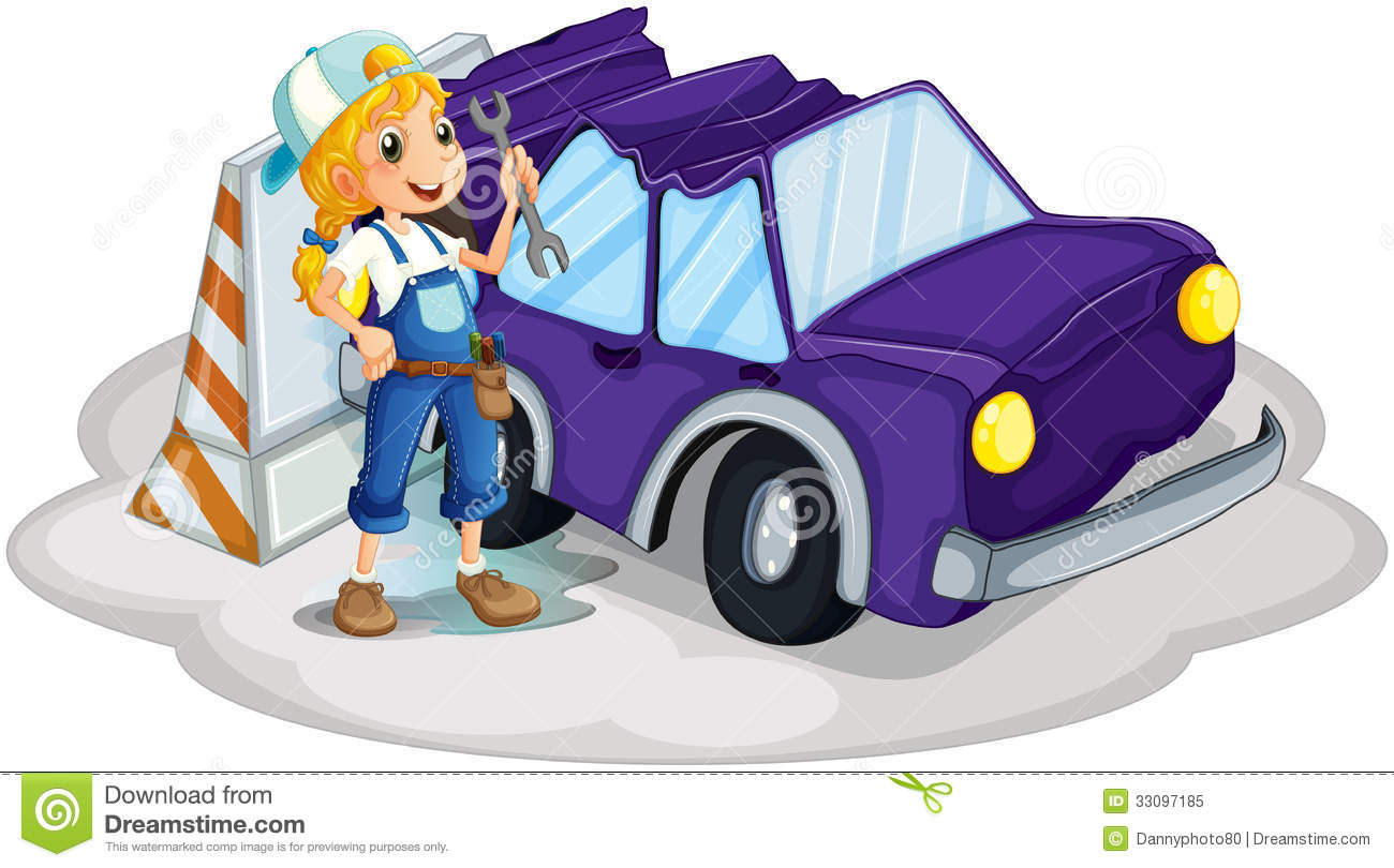 A Girl Fixing The Broken Violet Car Cartoon Vector
