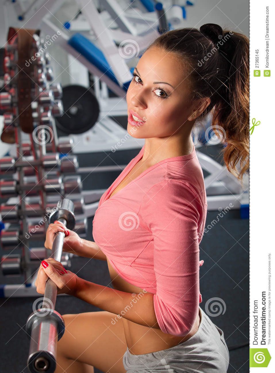 Girl In Gym Bar Bench Press Stock Image Image Of