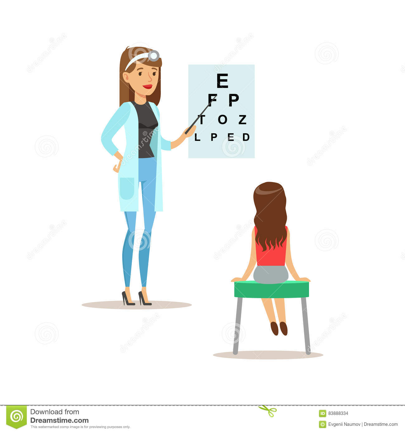 Girl On Medical Eyesight Check Up With Female Pediatrician
