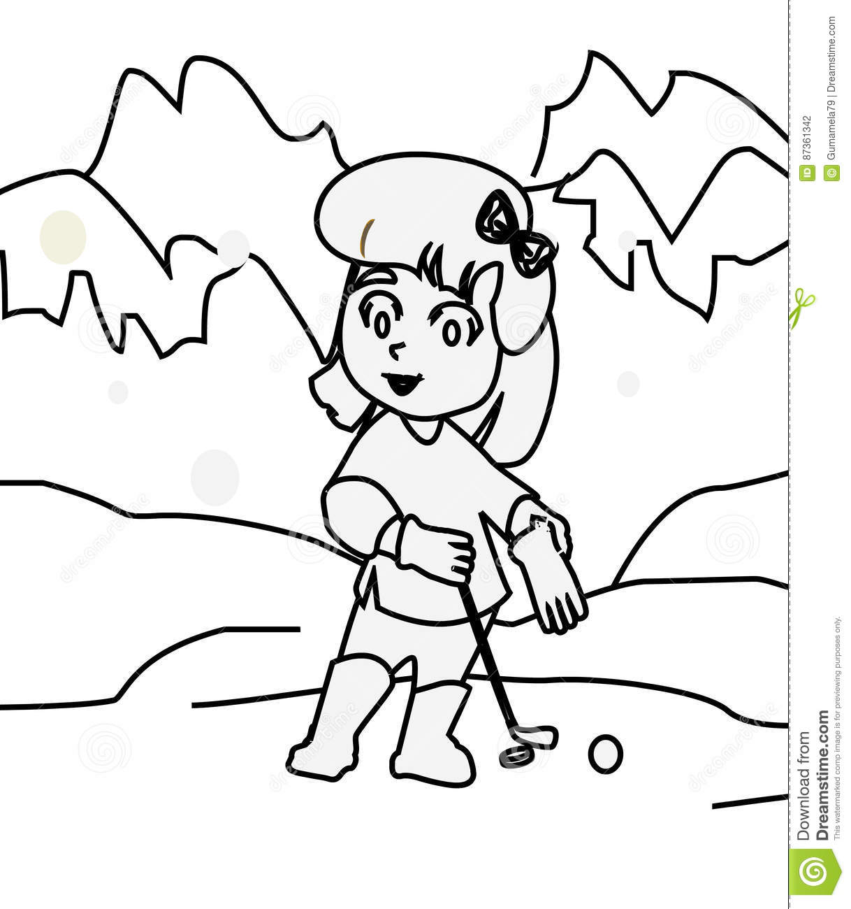 Girl Playing Golf Coloring Page Stock Illustration