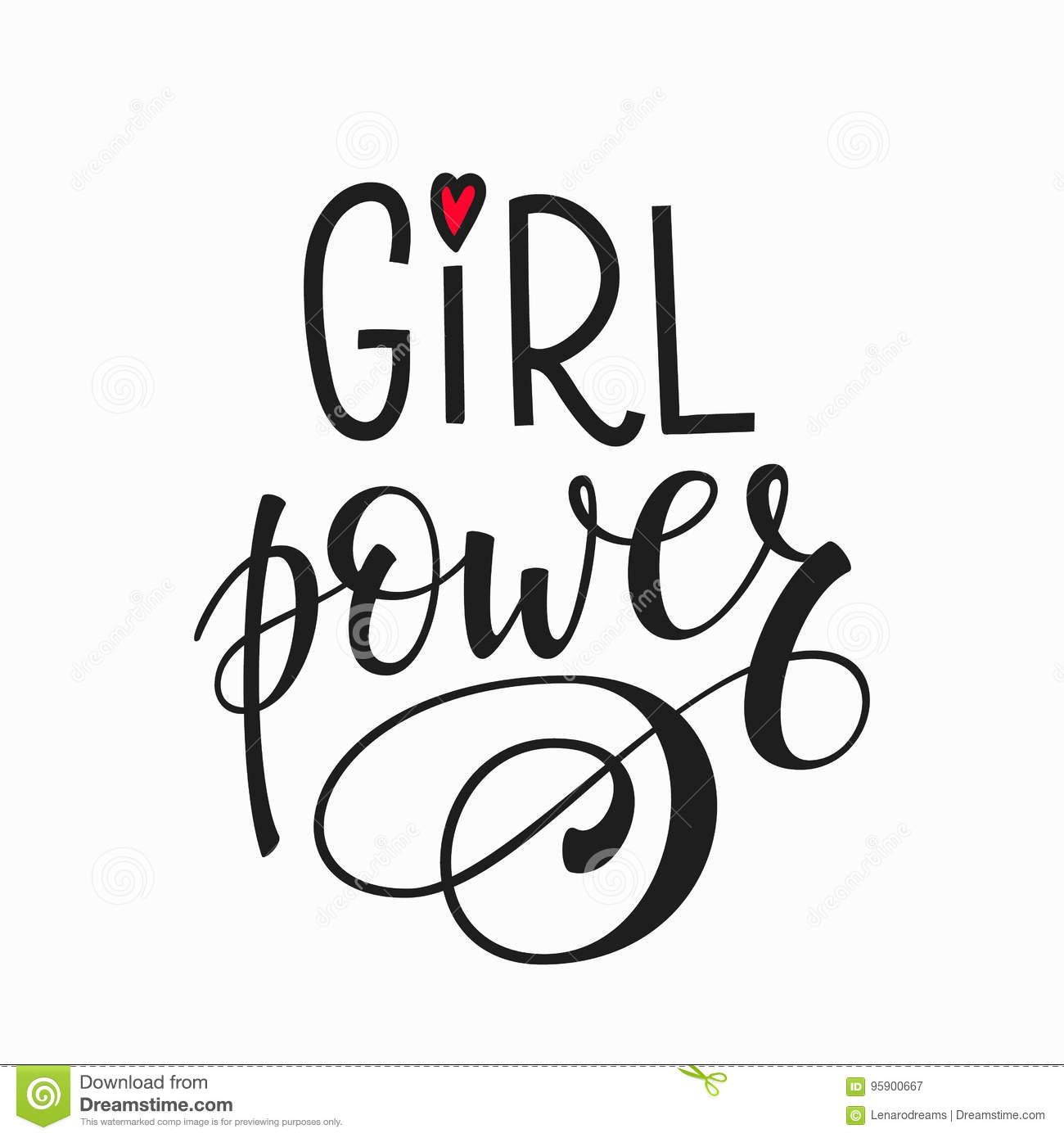 Girl Power Lettering Typography Calligraphy Stock Vector