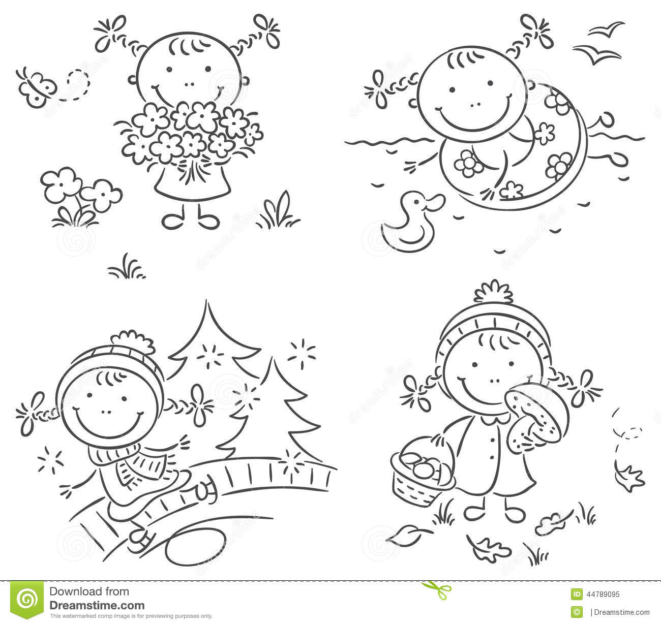 Girl S Activities During The Four Seasons Stock Vector