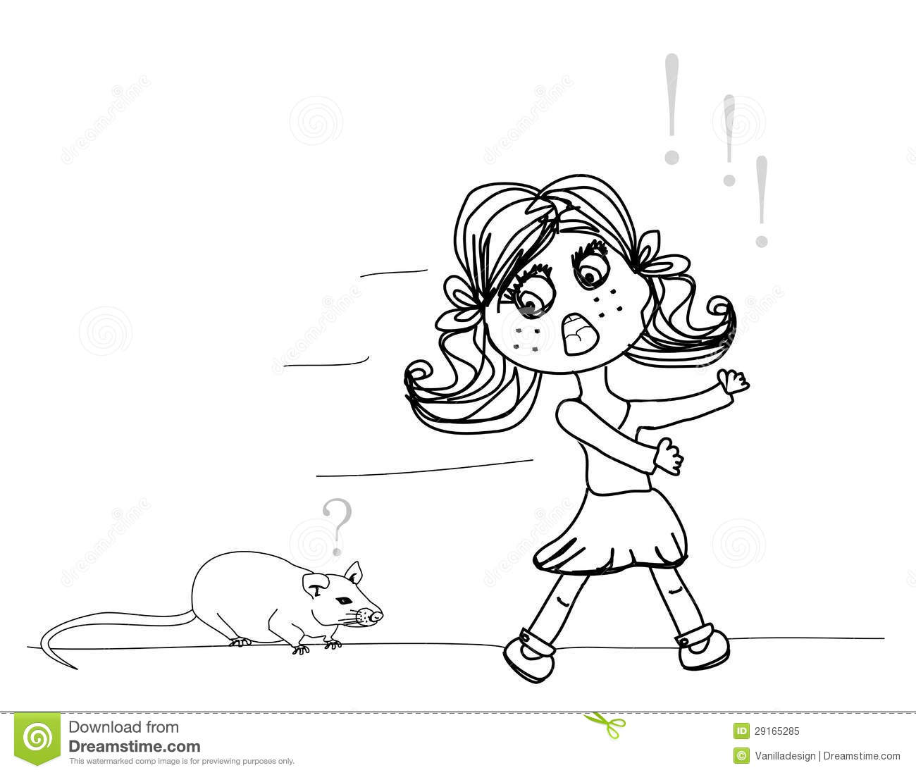 Girl Scared Of A Mouse Stock Vector Image Of Doodle