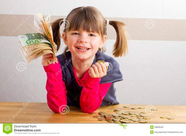 Cute Little Girl With Money Euro In Her Hand. Stock Photo ...