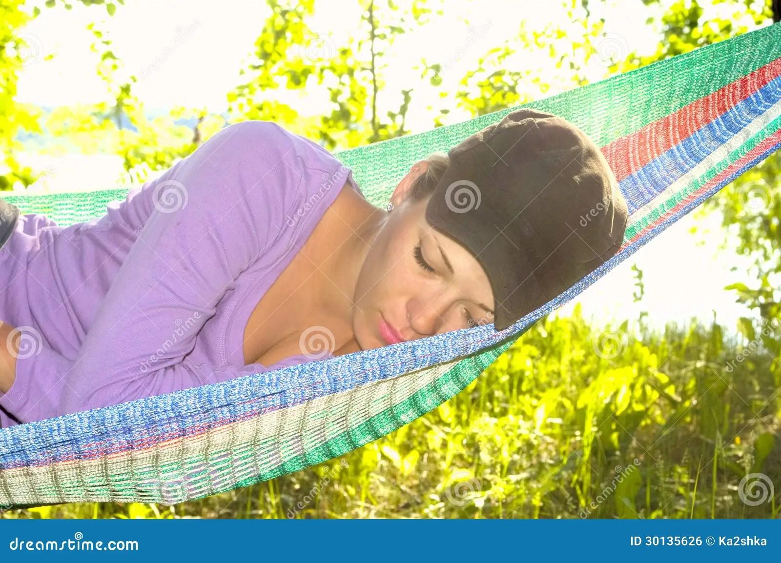 Girl Sleeping In A Hammock Stock Photo Image Of Lifestyle