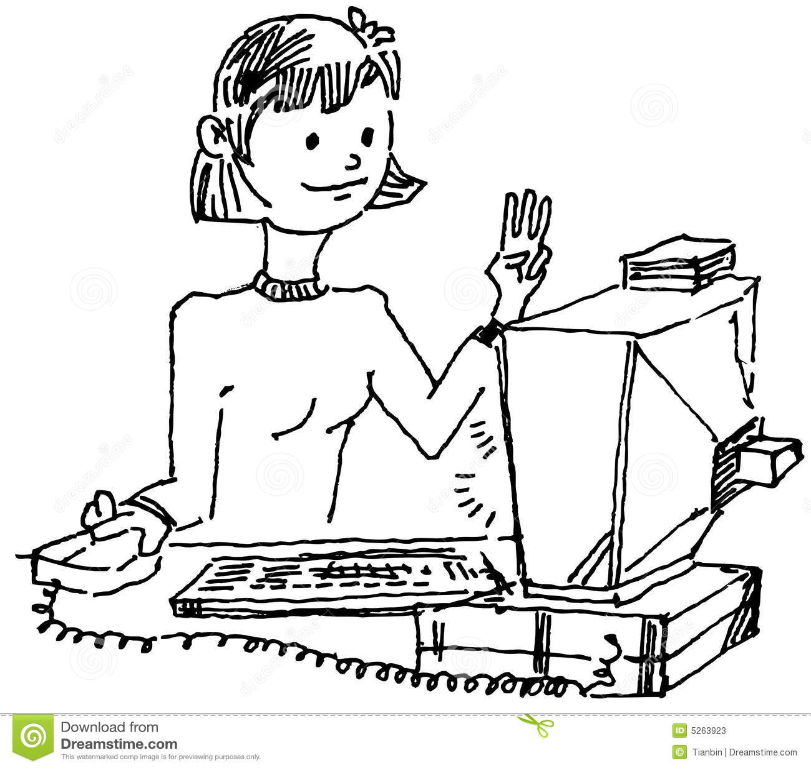 Girl Surfing Internet Stock Vector Illustration Of Draw