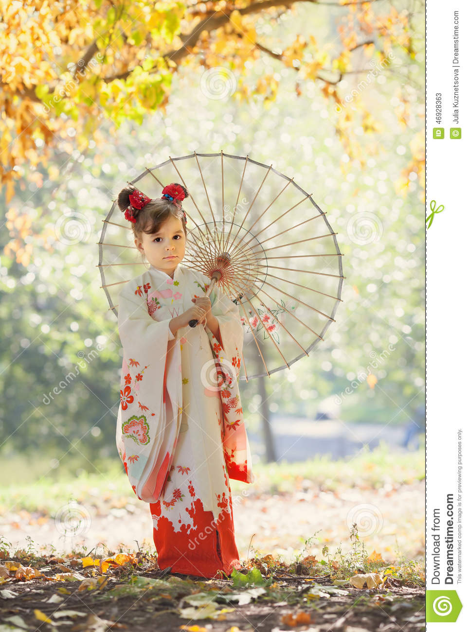 Girl In Traditional Japanese Kimono Stock Photo Image